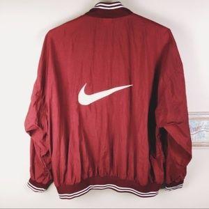 Nike Swoosh Jacket Vintage 90's Maroon Windbreaker